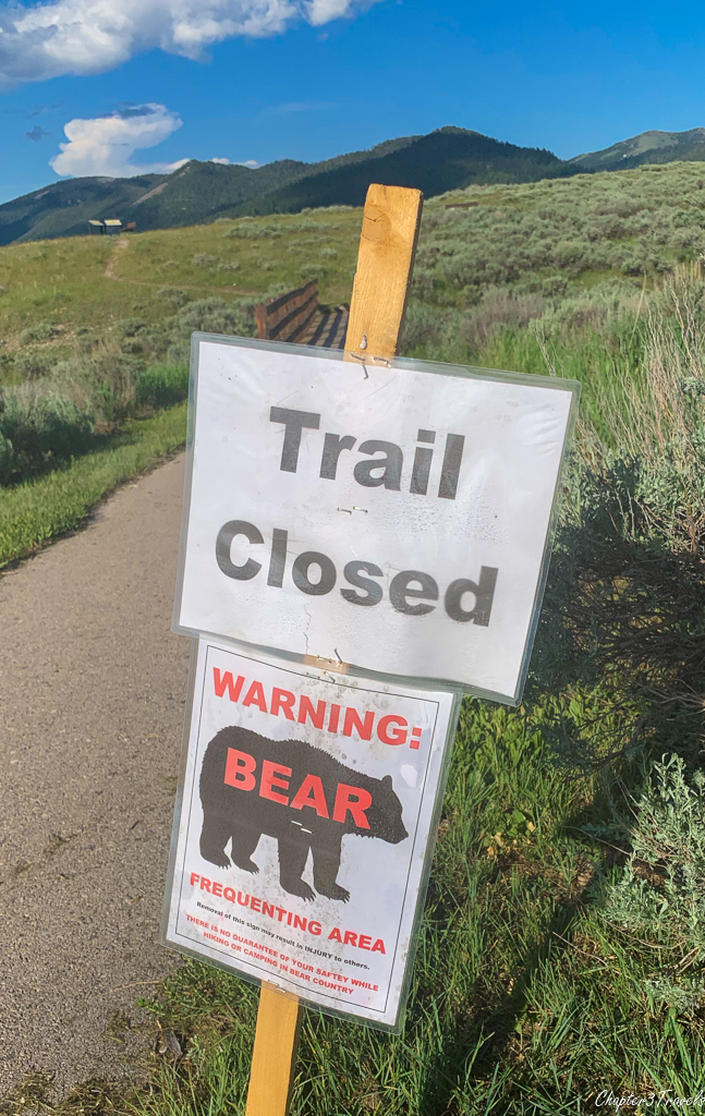 Trail closure sign at Henrys Lake State Park