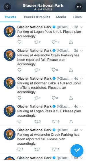 Glacier National Park Tweets