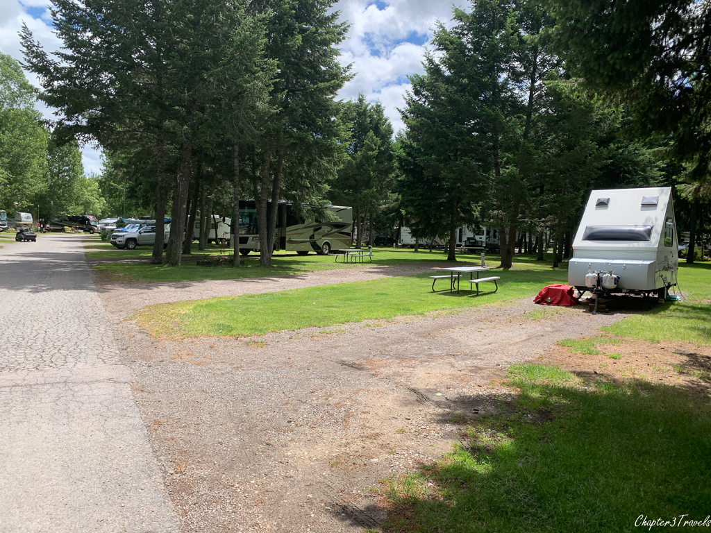 Pull through sites at Jim & Mary's RV Park in Missoula, Montana