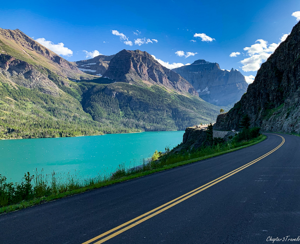 Roadside view of sunset on St. Mary Lake at Glacier National Park