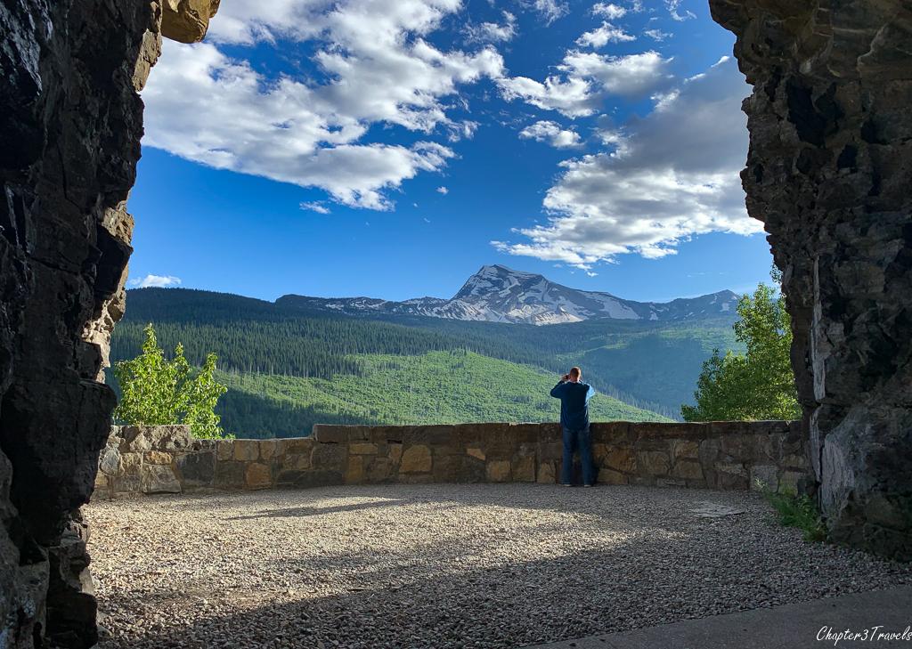 Kevin looking at Heavens Peak at Glacier National Park