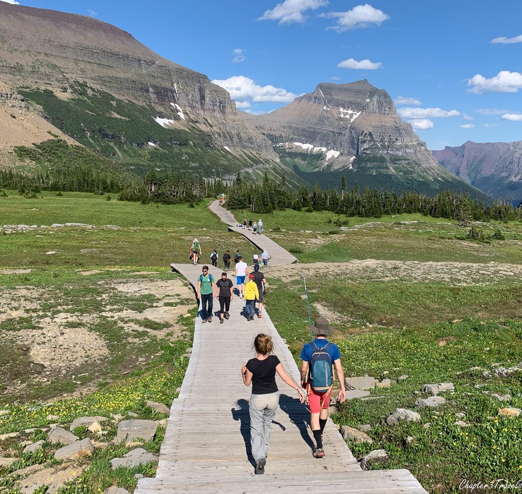 Visitors on the boardwalk of Hidden Lake Trail at Glacier National Park
