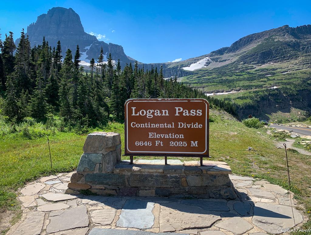 Logan Pass Continental Divide marker