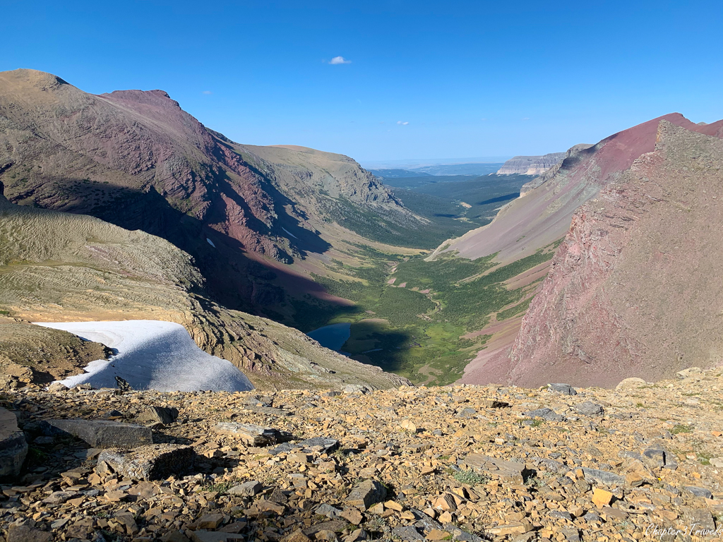 View from the top of the Siyeh Pass Trail