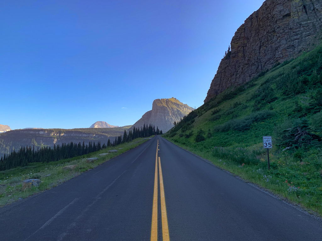 Empty scenic road view at Glacier National Park