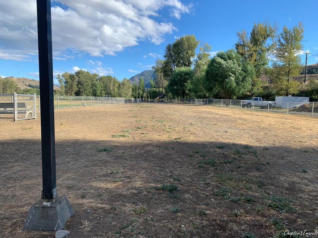The dog park at Riverbend RV Park in Twisp, Washington