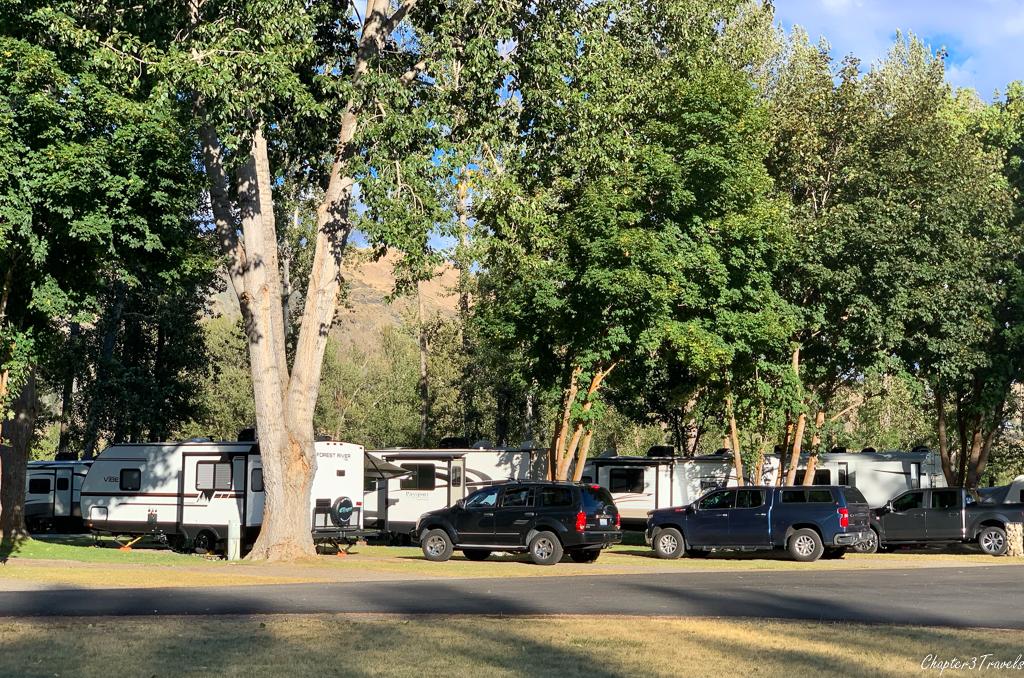 RV sites at Riverbend RV Park in Twisp, Washington