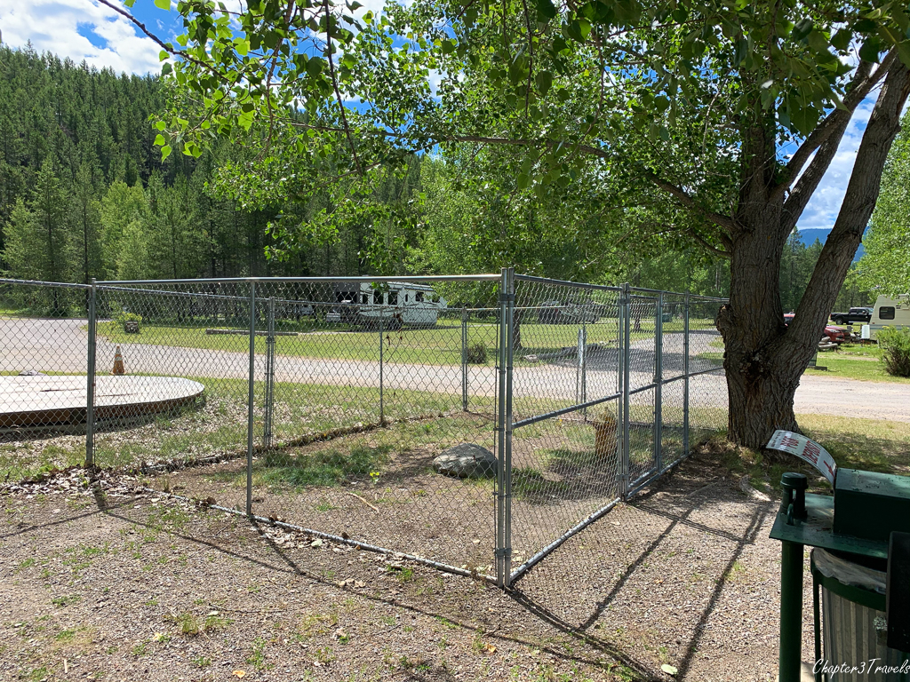 """Dog park"" at North American RV Park in Columbia Falls, Montana"