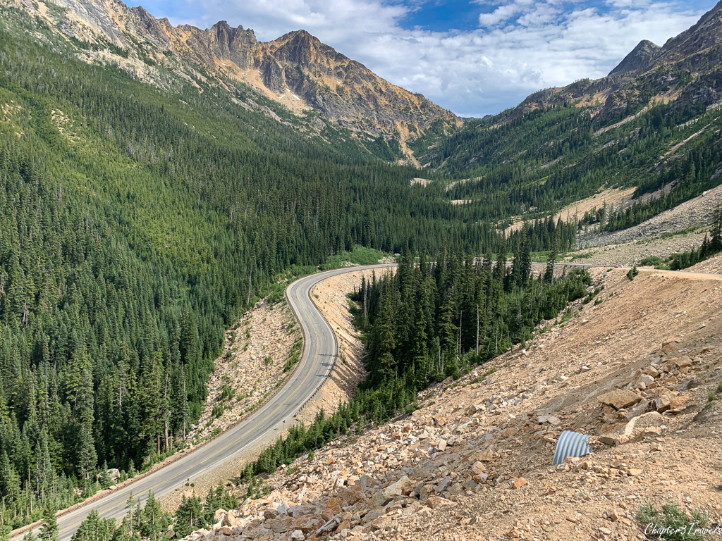 A sharply curved road in North Cascades National Park