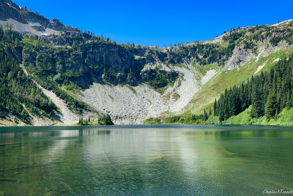 View from the shore of Lake Ann in North Cascades National Park