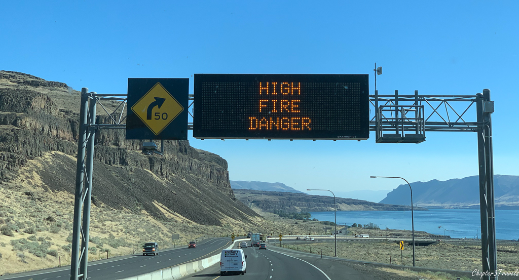 Digital sign warning of High Fire Danger