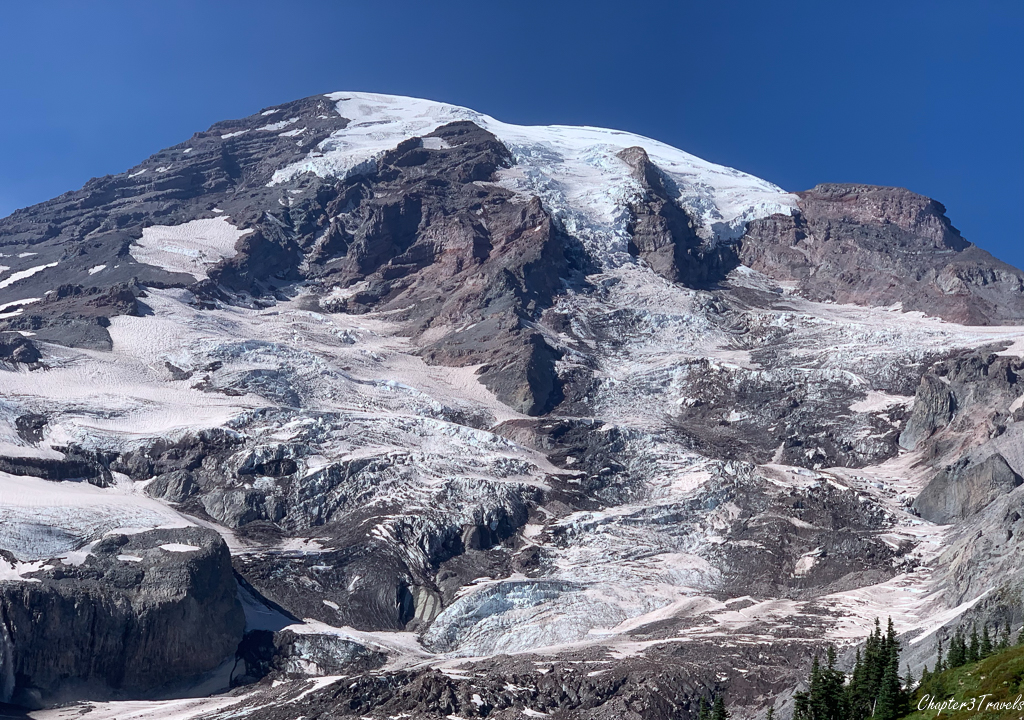 Close up of Mount Rainier's glaciated surface