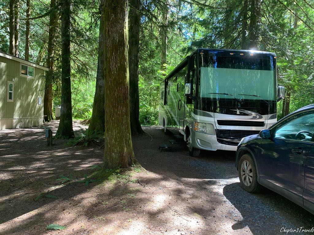Campsite at Mounthaven Resort in Ashford, Washington