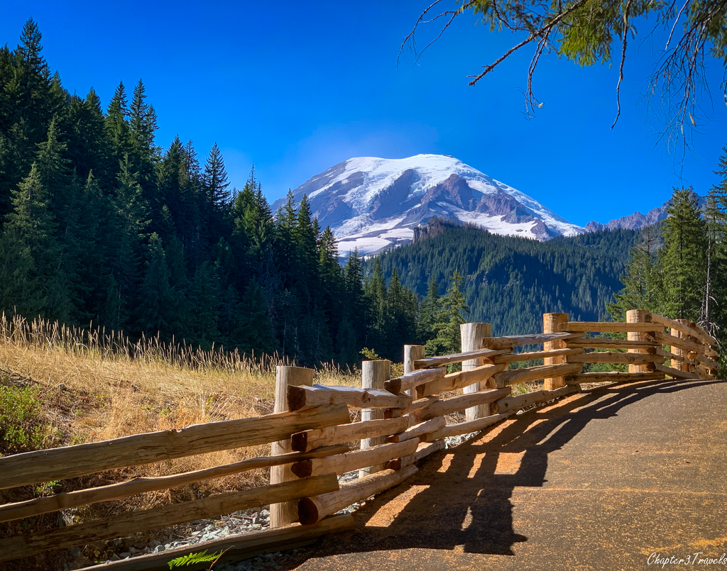 Mount Rainier behind wood fence