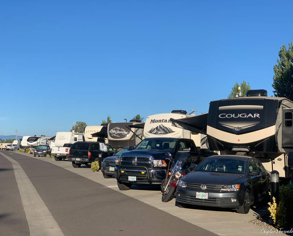 Campsites at Columbia River RV Park in Portland