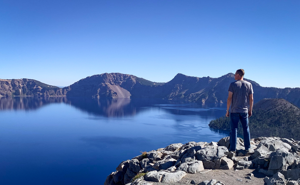 Kevin looking out over Crater Lake