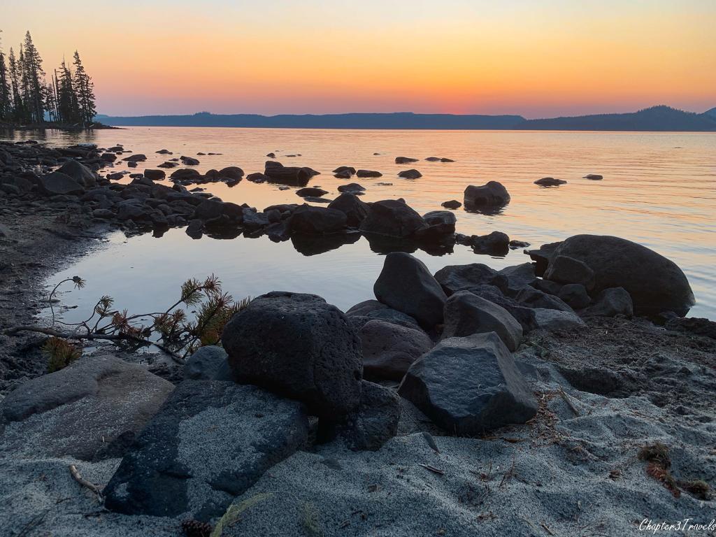 Waldo Lake at sunset