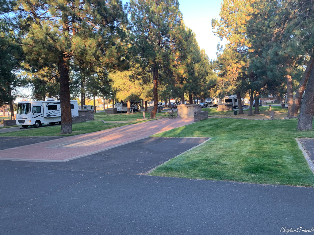 Campsites at Crown Villa RV Resort in Bend, Oregon