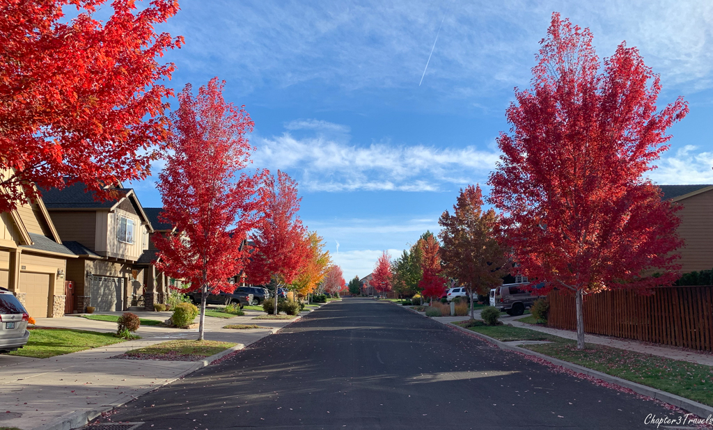 Bend neighborhood with bright fall colors