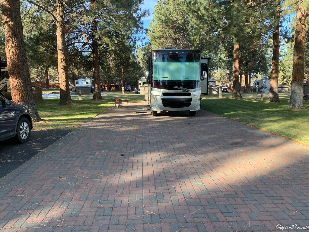 Campsite at Crown Villa RV Resort in Bend, Oregon