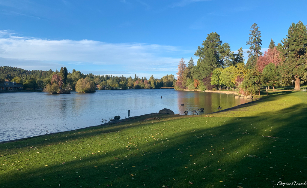 The Deschutes River surrounded by parkland in Bend