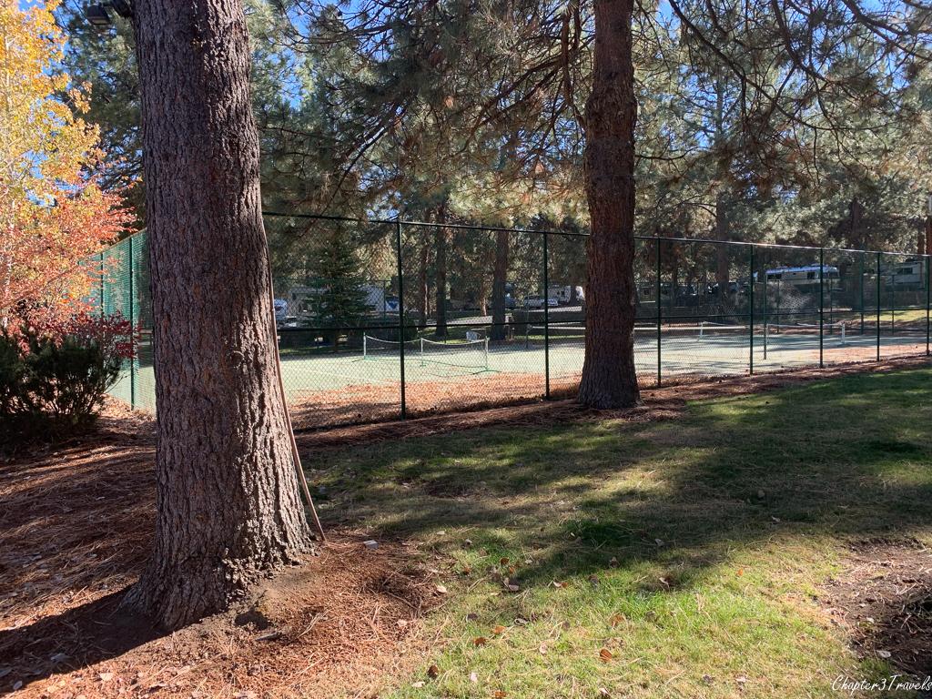 Tennis/pickleball courts at Crown Villa RV Resort
