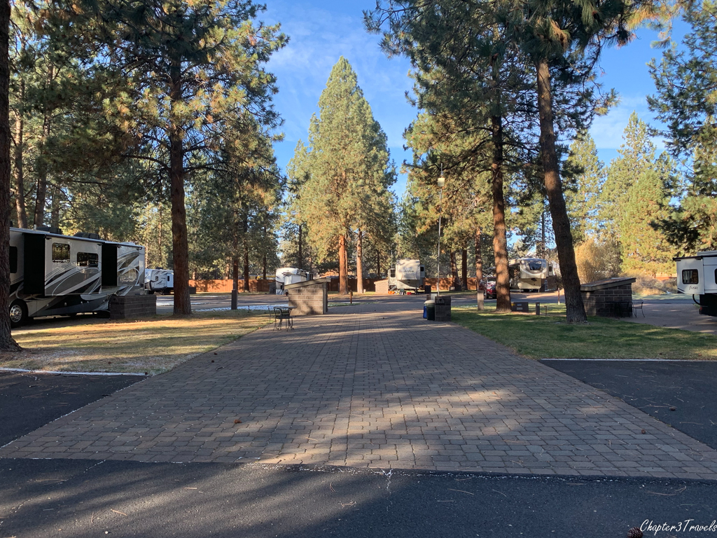 Pull through campsite at Crown Villa RV Resort in Bend, Oregon