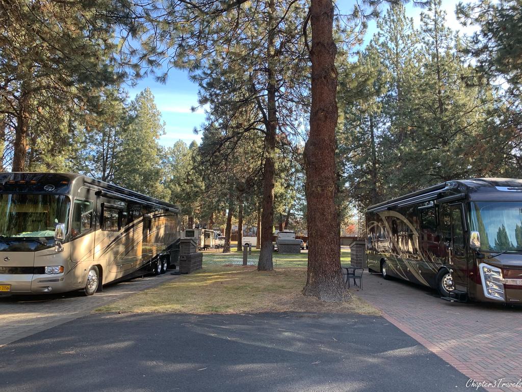 Campsites at Crown Villa RV Resort in Bend, Oregon