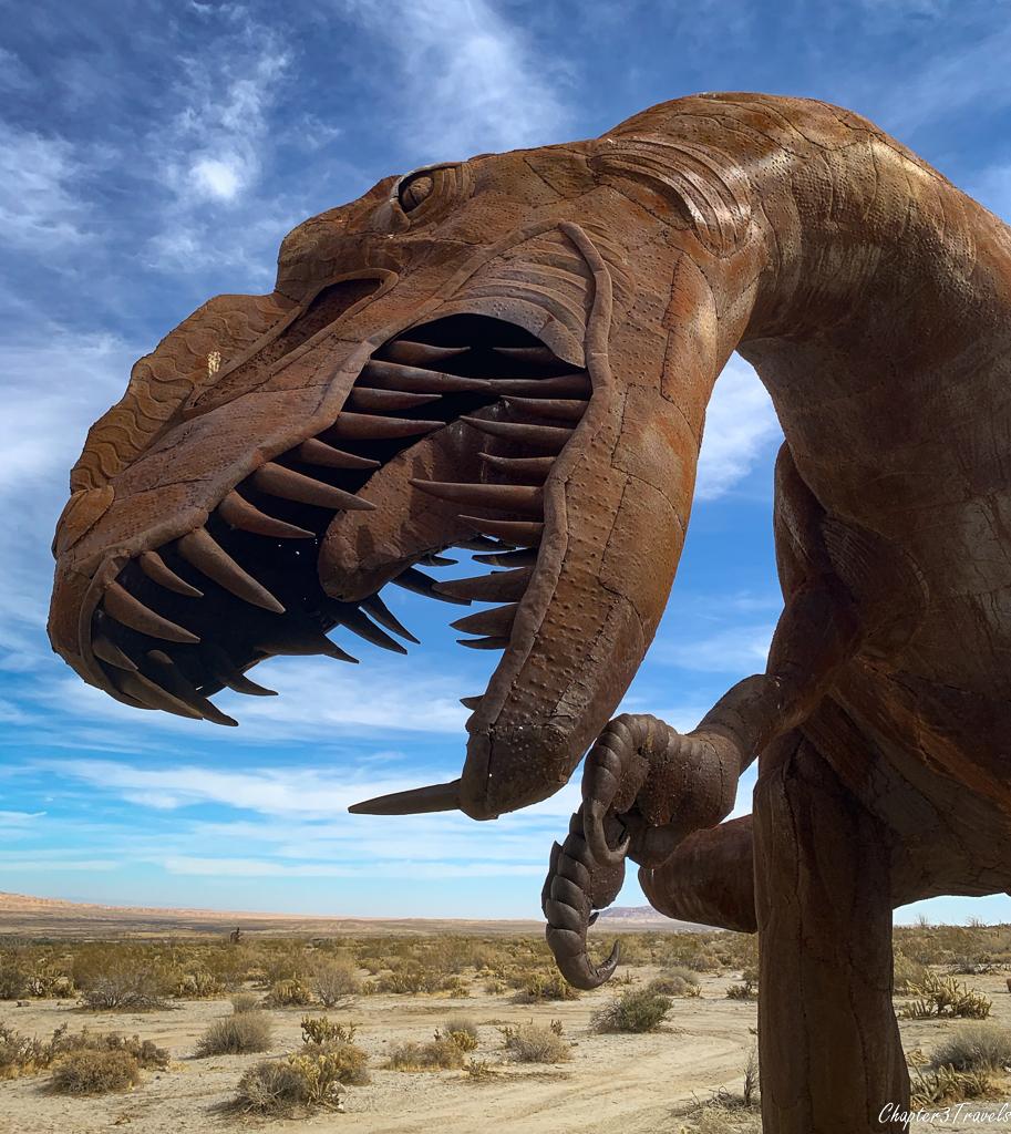 A sculpture of a dinosaur by Ricardo Breceda