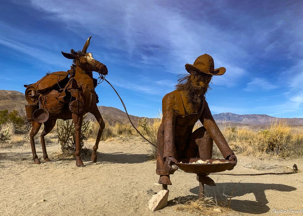 Ricardo Breceda's sculpture of a miner and his horse in Borrego Springs, California