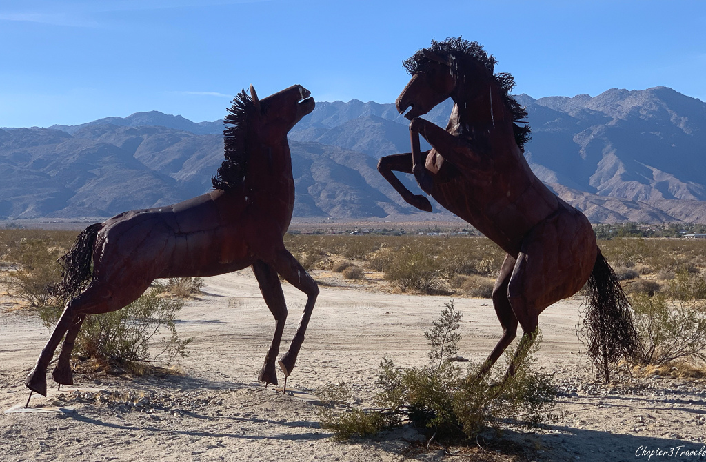 Horses sculpture with too much light, but less lens flare in Borrego Springs