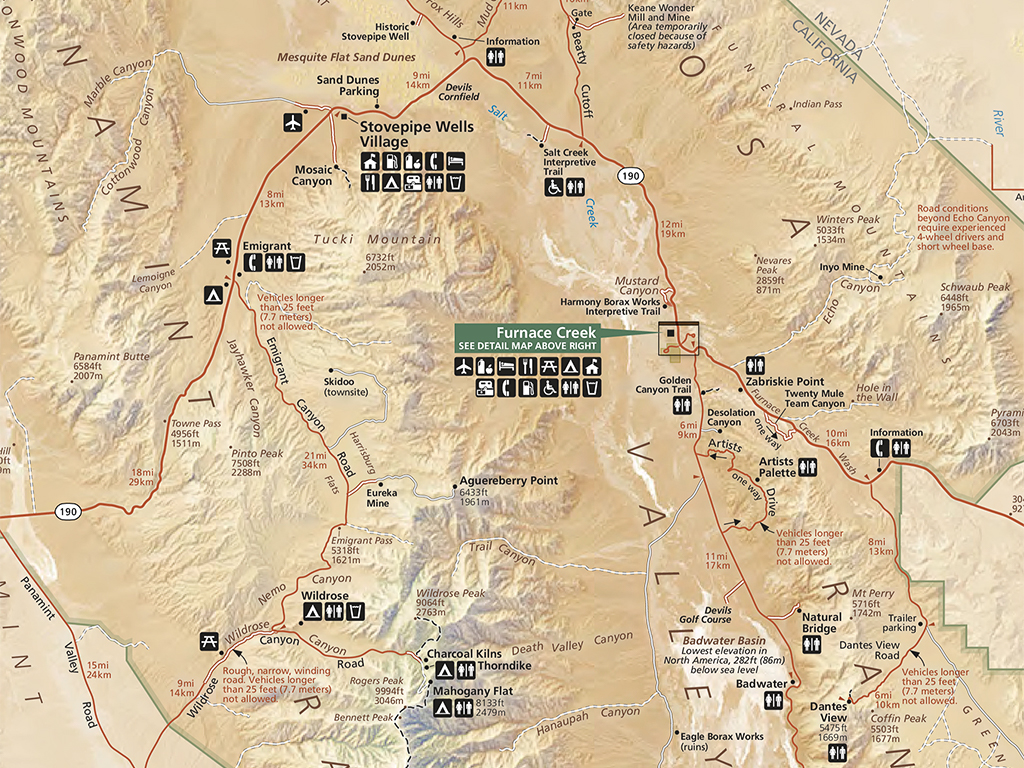 Map of Death Valley National Park