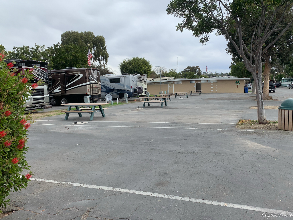 Empty campsites at Mission Bay RV Resort