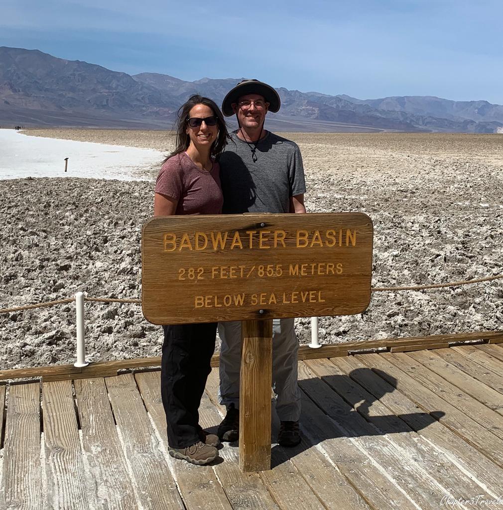 Kevin and Laura at Badwater Basin sign