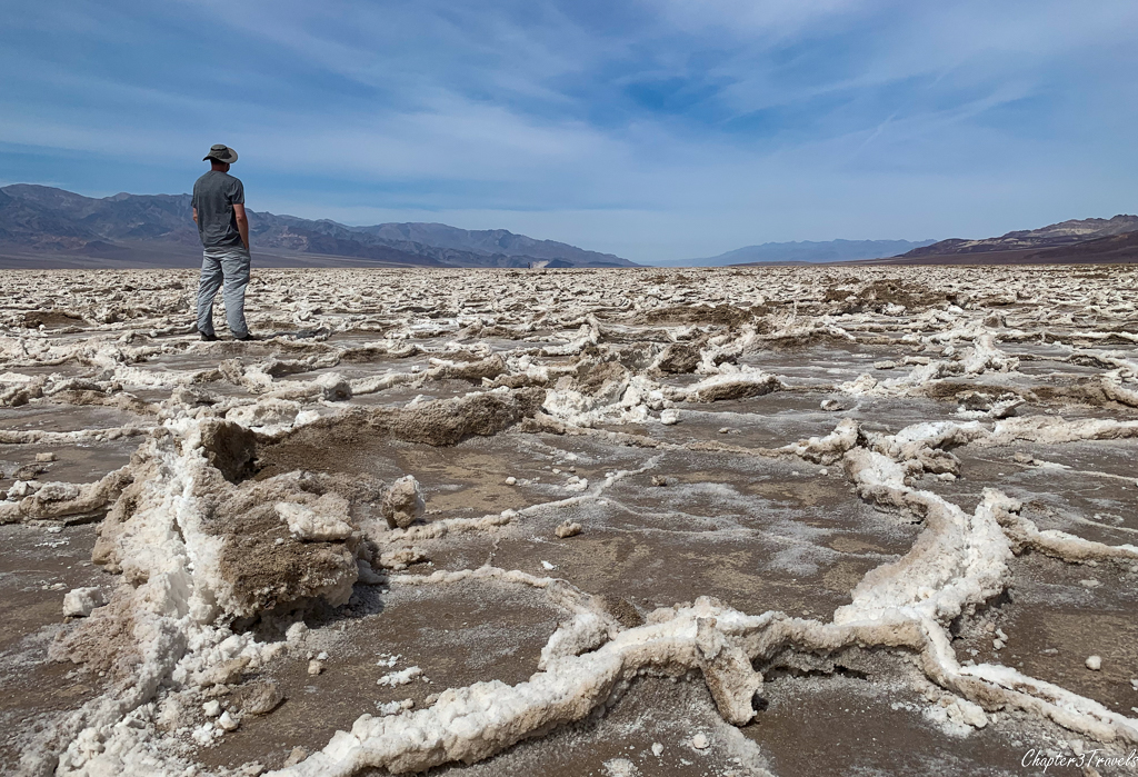 Kevin looking out over salt flats at Badwater Basin