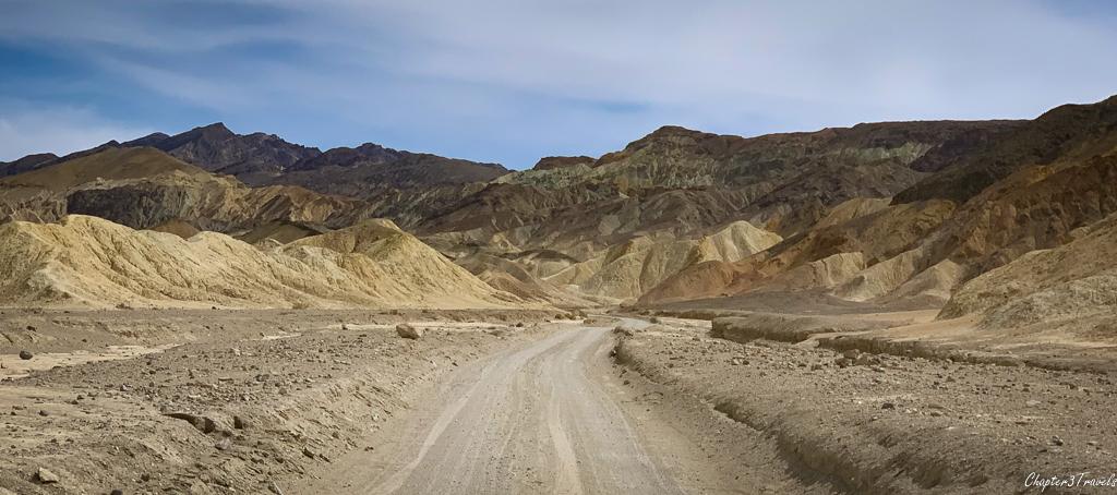 Multi-colored mountains along Twenty Mule Team Canyon Road