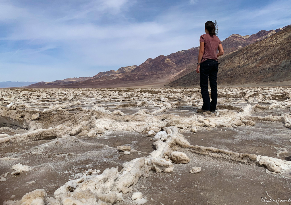 Laura looking out over salt flats at Badwater Basin