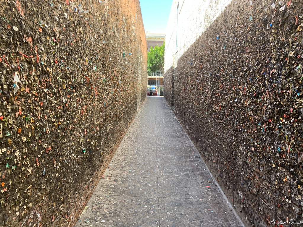 Alley with bubble gum on the walls