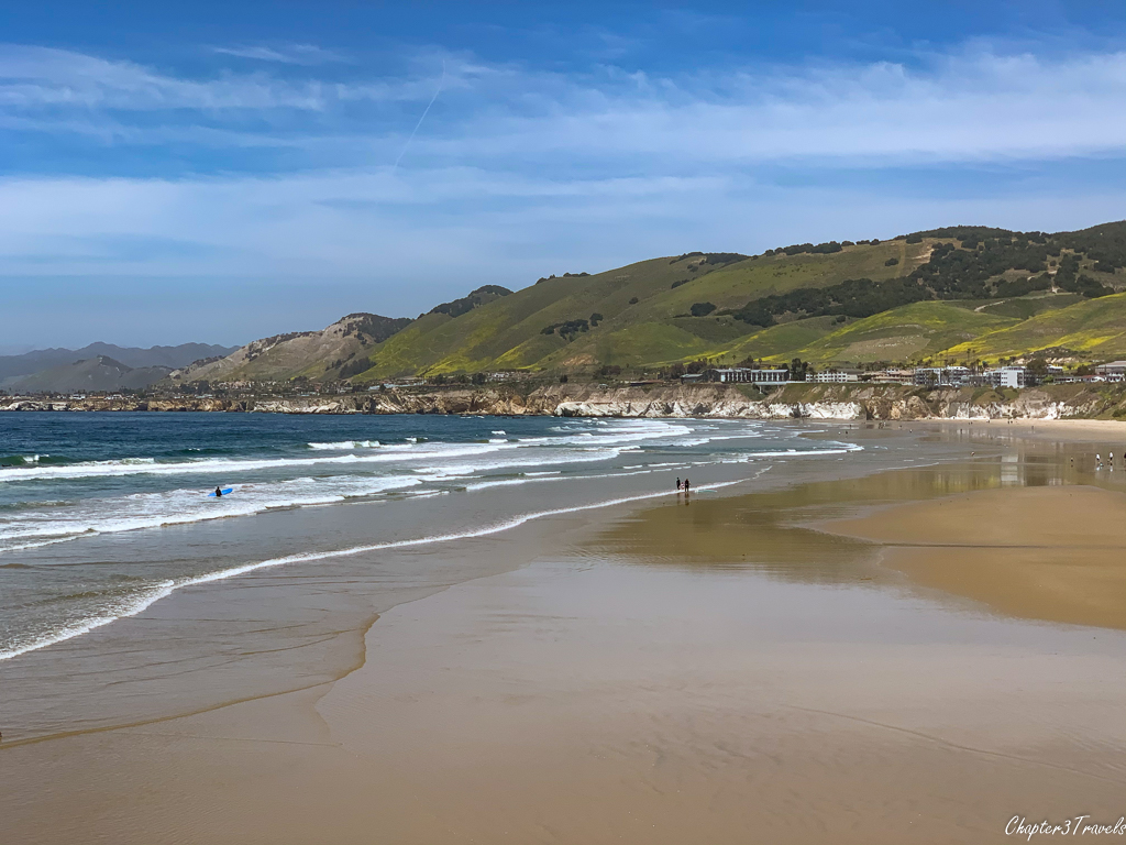 Beach surrounded by green hills