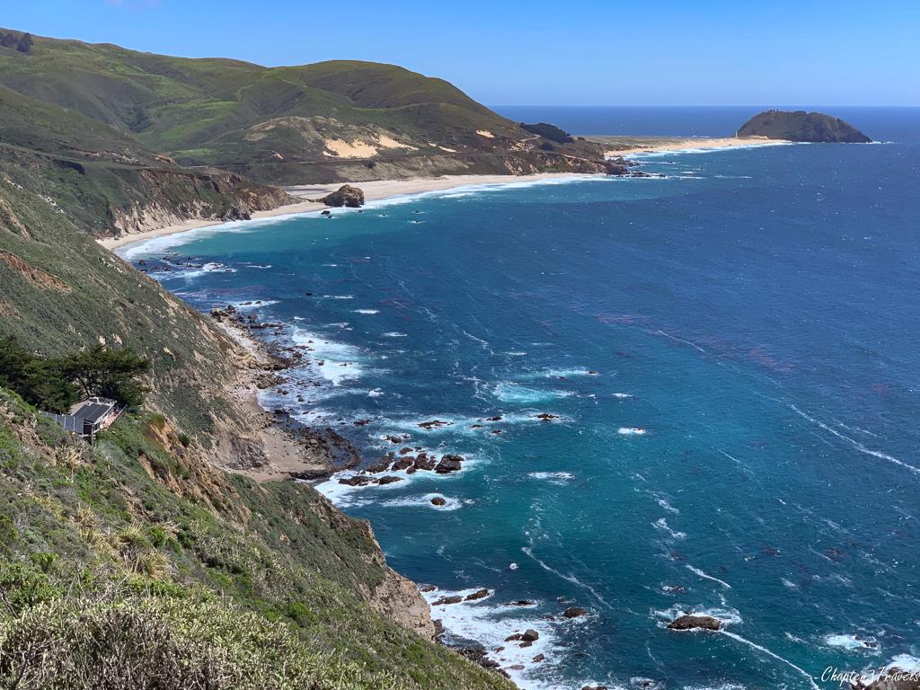 Curving rocky coastline