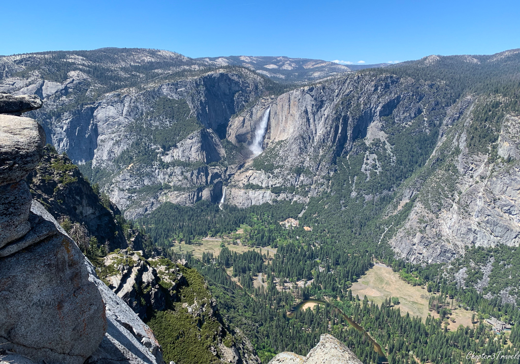 View of Yosemite Falls and the valley from Glacier Point