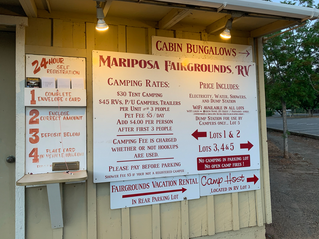 Fee and instructions board at Mariposa County Fairgrounds campground