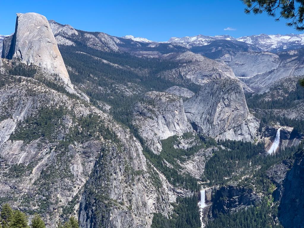Vernal and Nevada Falls behind Half Dome at Yosemite National Park