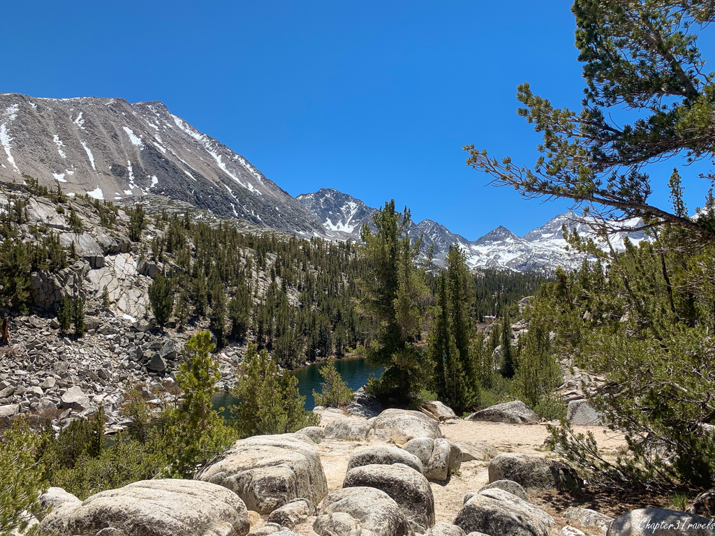 Mountains, pine trees, and a lake on the Little Lakes Trail