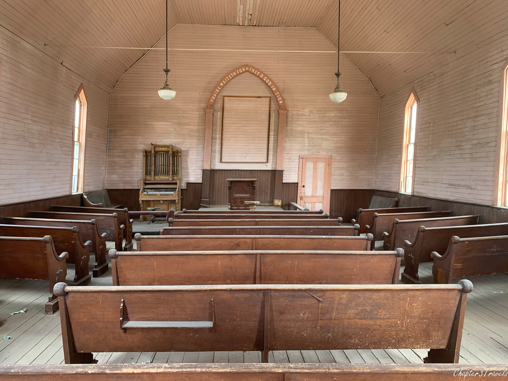 Interior of wood frame church in Bodie