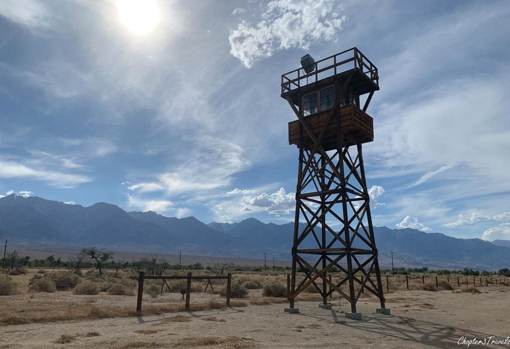 Wooden guard tower at Manzanar